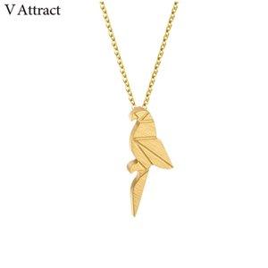 whole saleV Attract 2018 Fashion Jewelry Acciaio inossidabile Collier Feminina Cute Origami Parrot Collana oro argento Ketting choker
