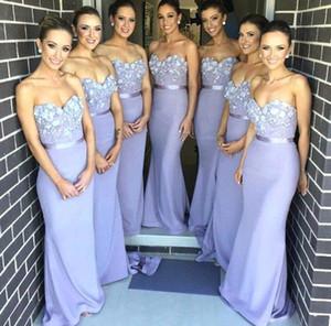 Vestidos 2,021 longos vestidos da dama Querida Lace Appliqued Mermaid Andar de comprimento Wedding Party sarahbridal Custom made