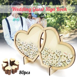 Personalized Hearts Wedding Guest Book Visit Signature Sign Book 3D Wooden Double-Heart Pendant Drop Ornaments Party Decoration