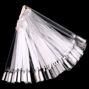 50pcs / set en forma Falso puntas de las uñas del ventilador del clavo falso de las extremidades del arte polaco ULTRAVIOLETA del gel de la etiqueta engomada palillo de la exhibición del gel de la herramienta del salón Claro