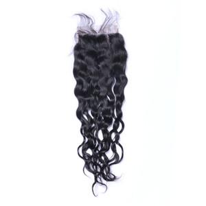 Бразильская естественная волна 4x4 Top Lace Затворы 100% человеческих волос Natural Black отбеленные Сучки Lace Затворы