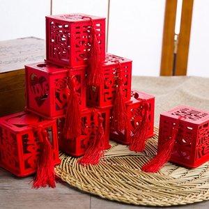 Estilos múltiples con borlas Caja de azúcar Madera roja Regalos de boda personalizados Regalos Pequeñas cajas de regalo Estuches de madera para dulces 1 15zn L1