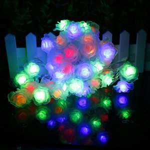 زهرة الصمام سلسلة 50pcs الورود شمعة جودة عالية 7.5meter حفل زفاف غرفة عيد الميلاد الجنية ديكور عطلة أحبك IQ