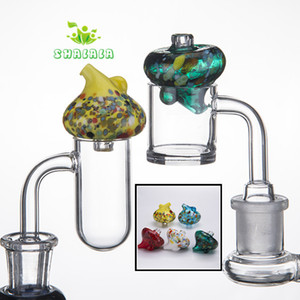 Colorful Glass Bubble Carb Cap 2 Sides For Use OD 35mm Fit For Quartz Banger Nails with 25mm Bowl Dab Rigs Glass Bongs