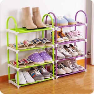 Zapatos de ahorro de espacio Soporte de almacenamiento 4 capas de plástico Zapatilla Rack Diseño práctico resistente Espesar Organizador para el dormitorio 6 52oc ZZ