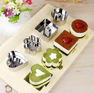 Mini mousse di cioccolato muffa di figura del quadrato dell'acciaio inossidabile rotonda Cuore Torta della mousse mousse modella Anello cottura della cucina Strumenti
