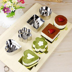 Mini-Mousse-Kuchen-Form Edelstahl-Quadrat-Runde Herzform Kuchen Mousse-Form Mousse Ring Küchen-Backen-Werkzeuge