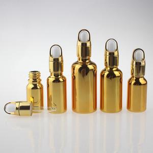 15ml 20ml 30ml 50ml Fläschchen mit ätherischem Öl Pipette Pipette Kosmetikverpackungsflasche Gold Silver Liquid Lotion Dropper Flasche 30cc
