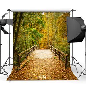 toiles de fond de forêt d'automne photographie fond photo pont en bois 3d ordinateur tissu vinyle imprimé pour le shooting photo studio photo