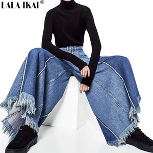 LALA IKAI Wide Leg Pants Patchwork High Waist Jeans Women Ripped Distressed Tassel Female Loose Style Vintage Jeans KWA0285-45