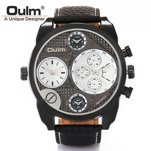 OULM Brand HP9316 Dual Time Zones Mens Watches High Quality Leather Strap Big Face Japan Movement Quartz Imported Hours New