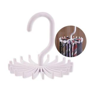 360 Rotación del lazo colgante de plástico blanca de la bufanda de la correa corbata rack de almacenamiento Silenciador Hanger Hook Dandys la casa para guardar nt