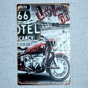Route Motorcycle 빈티지 플라크 페인팅 금속 벽 차고 바 홈 아트 크래프트 장식 Cuadros 30X20CM A-5660