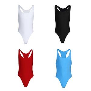 4 цвета Мужчины Цельный Mankini Bodysuit Tank Tops Тонкий Cut трико Singlet белье тренировки танцевальная одежда Одежда Drop Доставка