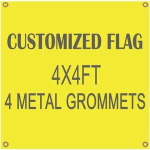 Vendita all'ingrosso Stampa digitale Banner bandiera personalizzata Flying Design 4x4ft Banner 100D poliestere con 4 occhielli in metallo