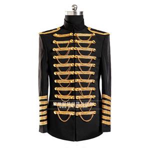 도매 Mens Blazer Jacket 블랙 마이클 잭슨 재킷 배지와 체인 Jaqueta Masculina Mens Costum Jacket Stage Cosutme Singer