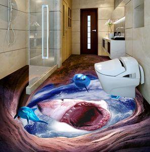 personnaliser 3d plancher Ferocious shark wallpaper 3d peintures murales pour livin marié salle de bain 3d stéréoscopique papier peint