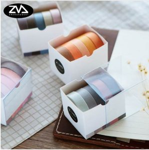 5X 10mm*5M Solid color paper tape DIY decorative scrapbook masking tape washi stationery office adhesive tape 2016
