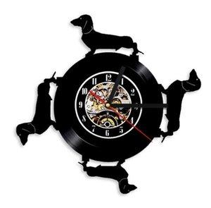 Dachshund Vinyl Wall Clock Modern Home Decor Crafts Creative Handmade Gift Decoración de oficina Reloj (Tamaño: 12 pulgadas, Color: negro)