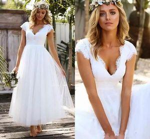 Укупоренные рукава по щиколотку пляж свадебные платья кружева тюль V-образным вырезом богемный сад свадебные платья 2019 vestido де novia