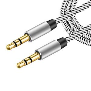3.5m Nylon Jack 3,5 mm Aux câble de 3,5 mm à 1,5 m Câble audio mâle à mâle Kabel Or Branchez voiture Aux Cordon pour iPhone Samsung Xiaomi Huawei