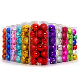 3 cm / 4 cm / 6 cm / 8 cm 24 adet / kutu Noel Top Ağaçları Süslemeleri Topu Renkli Plastik Kaplama Noel Süs Ağacı Süsler Toptan