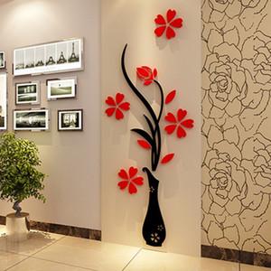 Fashion DIY Home Decor 3D Vase Flower Tree Crystal Arcylic Wall Stickers  Art Decal