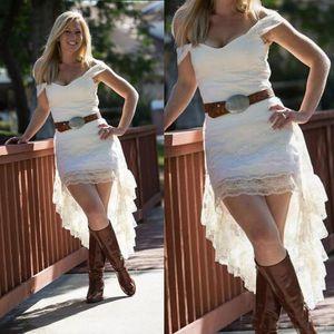 2017 Fora Do Ombro Vestidos De Casamento Curtos de Alta Low Country Vestidos De Noiva Sem Sash Barato Casual Desgaste Do Partido Custom Made