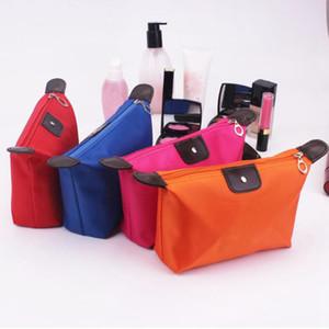 10 sacchetto di trucco del polpaccio di colore sacchetto cosmetico del poliestere di colore solido intorno a versione portatile molle del coreano compone l'organizzatore di immagazzinaggio del sacchetto