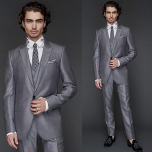 2019 costumes de mariage Groom Plain Design classique Fit gris clair One Button Peaked gris trois pièces (blazer + pantalon + gilet) smoking formel d'affaires
