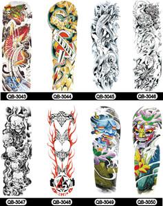 69 estilo 48 * 17 cm Flor completa Brazo cráneo Etiqueta engomada del tatuaje Fish Lotus Temporal arte corporal Transferencia de agua falso Tatoo manga