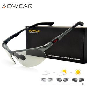 AOWEAR Fotokromik Güneş Gözlüğü Erkekler Polarize Bukalemun Gözlük Erkek Değişim Renk Güneş Gözlükleri HD Gündüz Gece Görüş Sürüş Gözlük