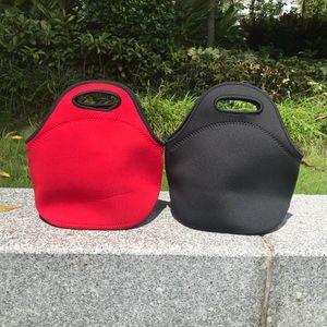 all'ingrosso sacchetto del pranzo del neoprene tinta unita nera sacchetto di picnic bambini rossi lunch box qulity buona bento contenitore