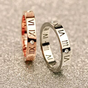 Beautiful and stylish Lucky Roman numerals wedding ladies ring 14K rose gold-plated temperament titanium steel couple ring