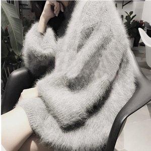 SMTHMA abbigliamento invernale donna Spessore caldo plus size Peloso finto maglioni e pullover Mohair Flare Sleeve jersey mujer invierno