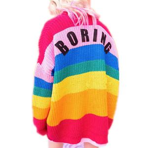 Взлетно-посадочной полосы женщин свитер Kawaii Ulzzang Радуга полосатый кардиган вышивка письма вязаные женские Harajuku свитера для женщин