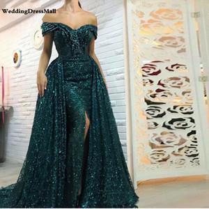 Long Green Glitter sirena Mujeres árabe vestido de fiesta de Dubai a largo vestidos de noche vestido Longo Mae hacer noivo
