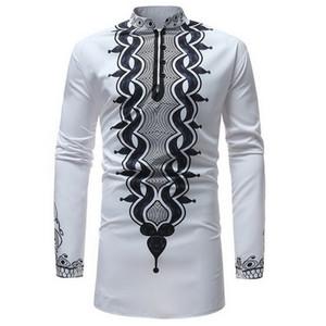 SHUJIN Camicia a maniche lunghe da uomo tradizionale con stampa tradizionale africana Dashiki Camicia da uomo Camicia lunga da uomo