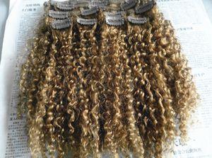Brésilien Vierge Humaine Remy Clip Ins Extensions De Cheveux Foncé Blonde Cheveux Trame Humain Crépus Bouclés Extensions De Cheveux Double Dessiné Épais Wefted