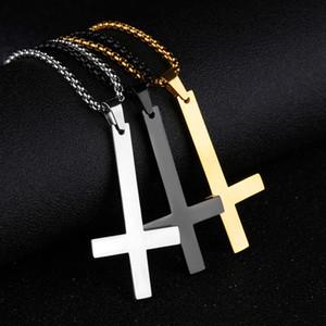 Мужской черный Святого Петра перевернутый крест Ожерелье для мужчин из нержавеющей стали колье Crux de Sanctus Petrus ювелирные изделия мужчины ожерелье