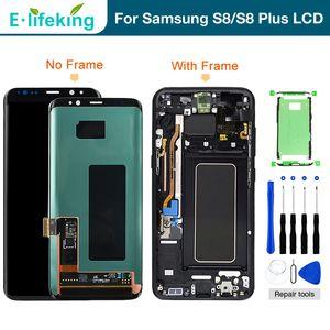SÜPER AMOLED LCD Ekran Samsung Galaxy S8 G950 S8 Artı G955 Tocuh Ekran Digitizer Meclisi Ile Orijinal LCD Samsung S8 Için Çerçeve
