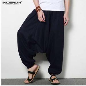 INCERUN Men Joggers Cotton Indian Harem Pants Men Big Crotch Pants Nepal Baggy Linen Pants Men pantalon hombre Plus Size 5XL