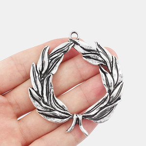 5pcs Large Antique Silver Tone Olive Branch Open Leaf Heart Shaped Charms Pendants Jewelry Findings 61*69.5mm