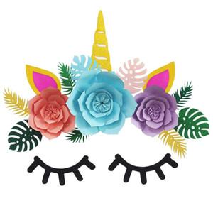 Unicórnio Backdrop Glitter Grande Chifre Orelha Rosto Cílios para Fontes Do Partido Do Chuveiro de Bebê de Aniversário Flor Verde Conjunto de Folhas Adesivo de Parede