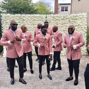 Staub Rosa Hochzeit Smoking Herrenanzug Jacke + Hose Groomsmen Anzüge Frühling 2019 Hochzeitsanzüge Nach Maß Prom Party Paar Tag