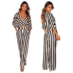 Modern Şık Çizgili Rahat 2 Parça Set Kadın V Boyun Yarım Batwing Kollu Dantel Kadar Tees Ve Cepler Uzun Geniş Bacak Pantolon O6096