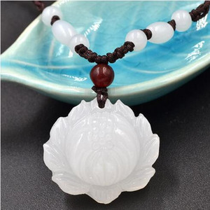 Wholesale-Hand Carved Natural White Jade Lotus Pendant Beads Decoration Woven Necklace>>Beauty Girl Shop Free Shipping