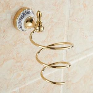 Étagères de salle de bains Support pour sèche-cheveux Support en métal doré Matériau Sèche-cheveux Rangement Printemps Souffleur de cheveux Plateau Mural