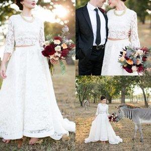 2018 Dos piezas Bohemia Vestidos de novia Vintage una línea joya con 3/4 mangas largas cremallera Country Rustic encaje Boho Beach Vestidos de novia