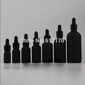 5мл, 10мл, 15мл, 20мл, 30мл, 50мл, 100мл Бутылка черного матового стекла с капельницей, пустой флакон с эфирным маслом, черный алюминиевый ошейник, резиновый